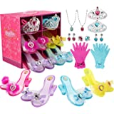 LOSLANDIFEN Girls Princess Dress up Shoes Set and Fashion Jewelry Accessories Little Girl Role Play Shoes Collection Set for