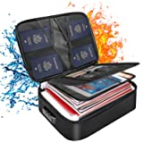 DocSafe Document Bag with Lock,Fireproof 3-Layer File Storage Case with Water-Resistant Zipper,Document Safe Portable Travel