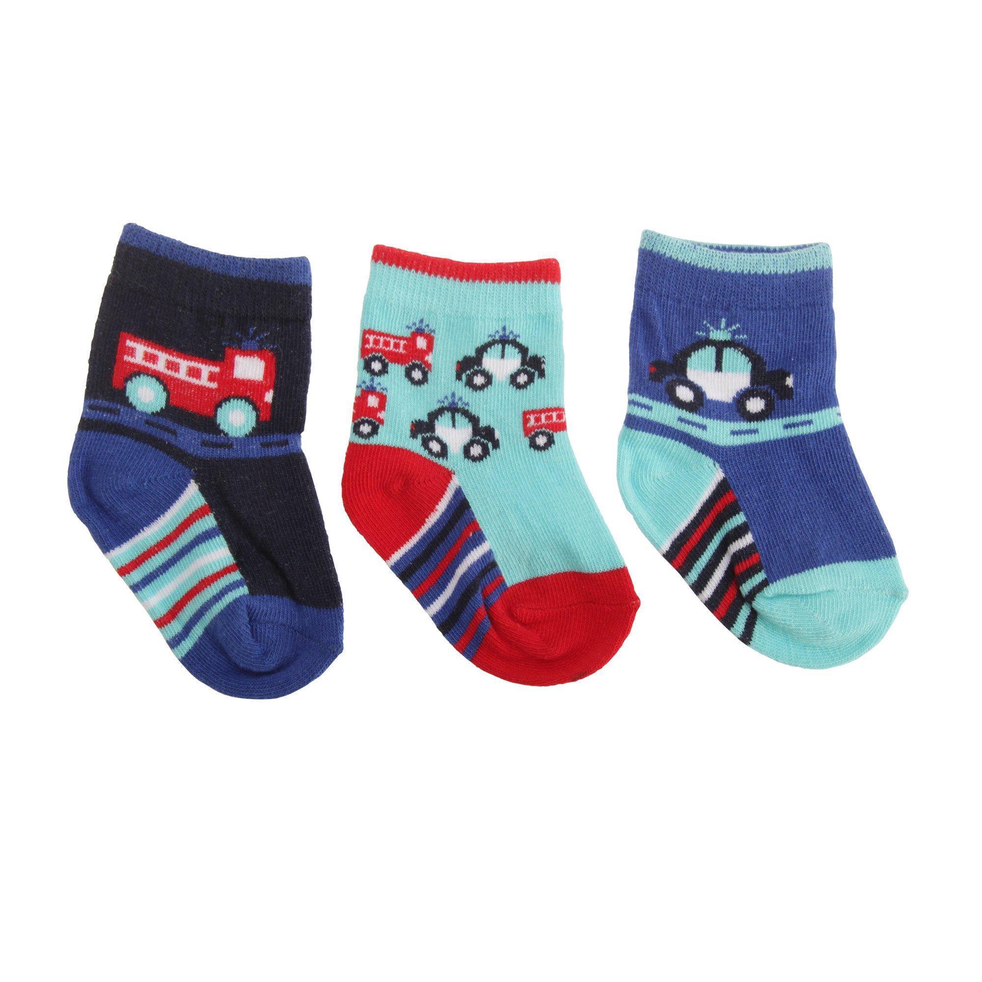 Textiles ベビー・赤ちゃん用 くるまのデザイン 靴下セット 3足組 ソックス 男の子 UK0-2.5 ネイビー/レッド/アクア