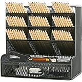 Whiidoom Mesh Desk Organizer, Large Capacity Storage Pen Holder Home Office Desktop Organiser for Art Supplies (with Drawer)