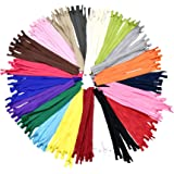 Mandala Crafts Nylon Invisible Zipper for Sewing, Pillows, Bags, Clothing, Cushions (20 Assorted Colors, 18 Inches 80 Pieces)