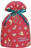 インディゴ クリスマス ラッピング袋 グリーティングバッグL ウィンターモチーフ レッド ミニカード付 XG247 H5…