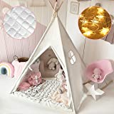 Kids Teepee Tent with Mat & Light String& Carry Case- Kids Foldable Play Tent for Indoor Outdoor, Raw White Canvas Teepee - K