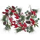 Lvydec Christmas Pine Garland Decoration, 6ft Eucalyptus Christmas Garland with Red Berry Pine Cones Eucalyptus Leaves and Pi