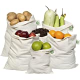 Reusable Produce Bags Cotton Washable - Organic Cotton Vegetable Bags - Cloth Bag with Drawstring - Muslin Cotton Fabric Prod