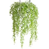 2pcs Artificial Ivy Fake Hanging Vine Plants Decor Plastic Greenery for Home Wall Indoor Outside (Light Green)