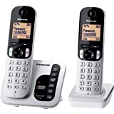 Panasonic DECT Digital Cordless Phone with Answering System & Twin-Pack Handsets, Silver (KX-TGC222ALS)