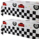2 Pcs Racing Car Plastic Table Cover Boys Birthday Car Theme Party Decorations Supplies