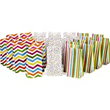 Hallmark Spring Pastel Party Favor and Wrapped Treat Bags, Assorted Designs (30 Ct, 10 Each of Chevron, Dots, Stripes) for Ba