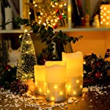 Flickering LED Candle Set with Daily Timer,Flameless Candles,Embedded String Lights Stay Lit,Silver Stripes Decorative,Real W