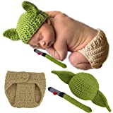 Baby Yoda Hat + Diaper Cover Full Costume For Every Day & Great Photos Star Wars Yoda Ears Knitted Crochet Outfits Clothes Ha