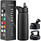 Triple-Insulated Stainless Steel Water Bottle with Straw Lid - Flip-Top Lid - Wide-Mouth Cap (25 oz) Insulated Water Bottles,