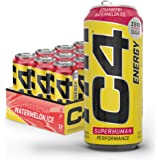 Cellucor C4 Original Carbonated Zero Sugar Energy Drink, Pre Workout Drink + Beta Alanine, Sparkling Strawberry Watermelon Ic