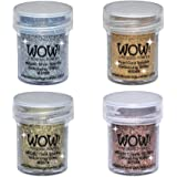 Wow! Sparkle Bundle - Embossing Powders 4 (15ml) Jars Metallic Gold Sparkle, Metallic Copper Sparkle, Pearl Gold Sparkle and