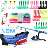 Kids Fishing Pole Reel Combos, Ultralight Telescopic Fishing Rod + Spinning Reel + Spincast Baits + Fishing Line with Portabl