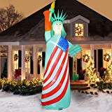 FUNPENY 9 FT Patriotic Independence Day Inflatable Statue of Liberty with LED Lights, Blow Up Freedom Inflatable Model for 4t