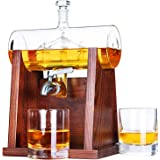 Jillmo Whiskey Decanter Set with 2 Glasses - 1250ml & 42 oz Lead Free Barrel Ship Dispenser with Detachable Wooden Holder Gif