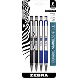 Zebra Pens Fine Point F 301, Combo Pack of 2 BLACK INK & 2 BLUE INK metal pens (Total of 4 Pens), Ballpoint Stainless Steel R