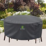 Outdoor Patio Furniture Covers, Waterproof UV Resistant Anti-Fading Cover for Large Round Table Chairs Set, Grey, 84 inch Dia