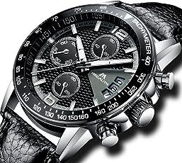 [メガリス]MEGALITH 腕時計 メンズ時計ブラック クロノグラフ防水腕時計 多針アナログクオーツウオッチ ルミナス夜光 日付表示 ラグジュアリー おしゃれ ビジネス カジュアル 男性腕時計