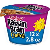 Kellogg's Raisin Bran Crunch, Breakfast Cereal in a Cup, Original, Good Source of Fiber, Bulk Size, 12 Count (Pack of 2, 16.8