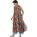 RADANYA Women's Tops Tunic Kurta Floral Printed Sleeveless Casual Tunic Long Tops Tunic Kurti