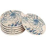 Enkore Coasters Set of 6 - Absorbent Natural Ceramic Thirsty Stone Keep Spill Off Table, Coaster for Drinks with Vibrant Colo