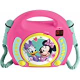 Lexibook Disney Junior Minnie Mouse CD Player for Kids with 2 Toy Microphones, Headphones Jack, with Batteries, Pink, RCDK100