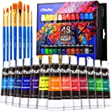 Acrylic Paint Set, With 8 Pianting Brushes, 48 Colors of Ohuhu Artist's Acrylic Painting Kit Acrylic Paints for Stone, Canvas