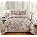 Luxury Home Collection Quilted Reversible Coverlet Bedspread Set Floral Printed Beige Pink Blue #Hilton, Full/Queen