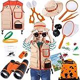Kids Explorer Kit, 11 Pcs Outdoor Exploration Kit with Binoculars, Costume Vest, Safari Hat, Bag, Hand-Crank Flashlight, Magn