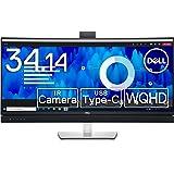 Dell C3422WE 34.14インチ 曲面 ビデオカンファレンスモニター (3年間無輝点交換保証/WQHD/IPS非光沢,3800R曲面/USB-C,DP,HDMI/sRGB 99%/高さ,傾き調整/LANポート(RJ45)/ドック機能搭載/マ