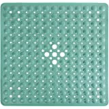 Yimobra Square Bathtub Shower Mat Non-Slip Suction Cups with Drain Holes Machine Washable 21 x 21 Inches (MARRS Green)