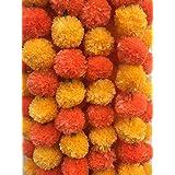 Decoration Craft Pack of 5 Artificial Orange & Dark Orange Marigold Flower Garlands 5 Feet Long for Parties Indian Weddings I