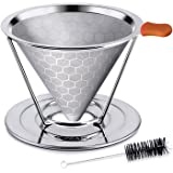 (2nd Generation) - E-PRANCE Honeycombed Stainless Steel Coffee Filter, Reusable Pour Over Coffee Filter Cone Coffee Dripper w