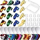 58 Piece Guitar Picks Thumb Finger Pick Metal Guitar Pick Fingertip Protectors Celluloid Stainless Steel Guitar Accessories K