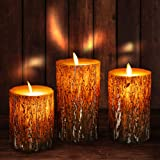 Flameless Candles Battery Operated Flickering Candles with Real Wax Pillar, Remote Control, 24-Hour Timer Function, Realistic