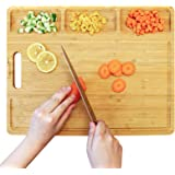 Large Bamboo Cutting Board, Organic Wood Cutting Boards with Juice Groove Kitchen Cutting Board with 3 Compartments, Wood Cho