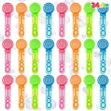 JOYIN 24 Pieces Mini Bubble Wands with 35 ml Bubble Solution for Kids & Toddlers,Themed Birthday, Halloween, Goodie Bags, Car