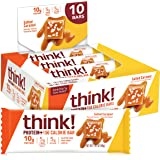think! Protein 150 Calorie Bars 10g Protein, 5g Sugar, No Artificial Sweeteners, Gluten GMO Free, Salted Caramel (Pack of 10)