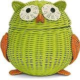 G6 COLLECTION Owl Rattan Storage Basket With Lid Decorative Bin Home Decor Hand Woven Shelf Organizer Cute Handmade Handcraft