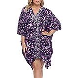 HDE Womens UPF 50 Short Kaftan Cover Up Oversize Plus Size Swimsuit Shirt Dress