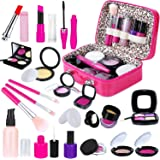 INNOCHEER Kids Pretend Makeup Kit with Cosmetic Bag for Girls 4-10 Year Old - Including Pink Brushes, Eye Shadows, Lipstick,