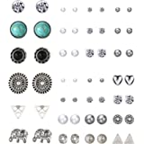 Mtlee 27 Pairs Multiple Stud Earrings Set Cute Vintage Earrings for Girls Women Men