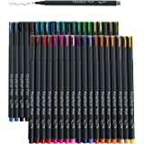 46 Pack Journal Planner Colored Pens, Lineon 40 Colors Fineliner Pens with 6 Different Stencils, Perfect Set for Journal Plan