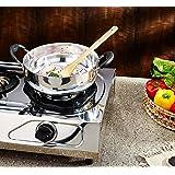 Khandekar Stainless Steel Induction Deep Kadai with Heat Resistant Handle, Non Stick Stir Frying Pan Wok for Kitchen - Silver