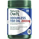 Nature's Own Odourless Fish Oil 2000mg - Source of Omega-3 - Maintains Wellbeing - Supports Healthy Heart and Brain, 200 Caps