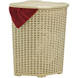 Superio Corner Laundry Hamper Basket With Lid 50 Liter, Beige Wicker Hamper - Durable, Lightweight Bin With Cutout Handles, S