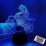 Dirt Bike 3D Night Light, Motocross Illusion Hologram Bedside Lamp 16 Color Changing with Remote Control, LED Cool Novelty Bi