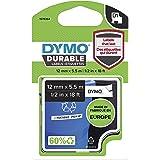 DYMO D1 Durable Label Cassette Tape, 12mm x 5.5m, Black/White